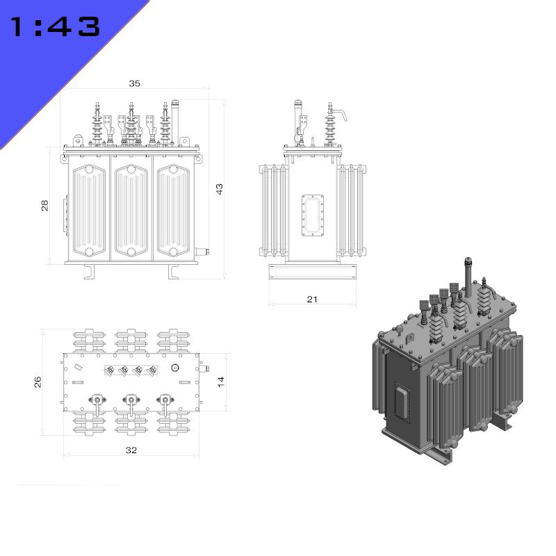 Oil Immersed Rectangular Transformer
