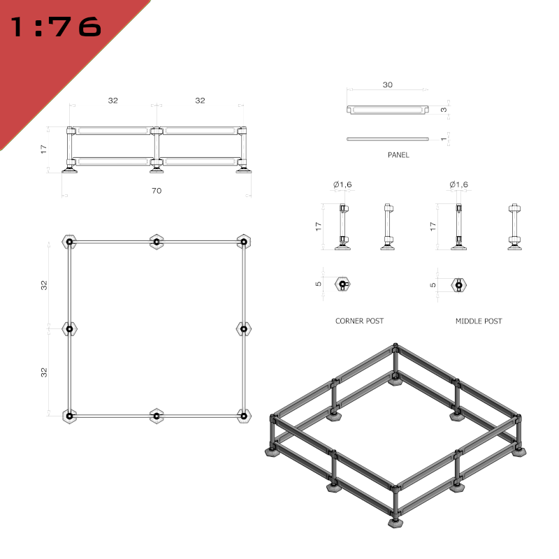 Modular Safety Barriers - Square Assembly